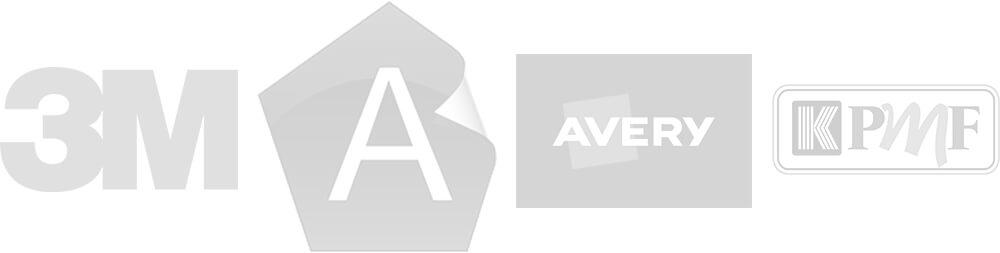 Vehicle Wrap Brand Logos, including 3M, Avery & KPMF